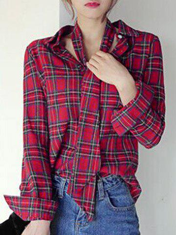 Chic Long Sleeve Shirt Collar Plaid Women's Shirt - RED ONE SIZE(FIT SIZE XS TO M)