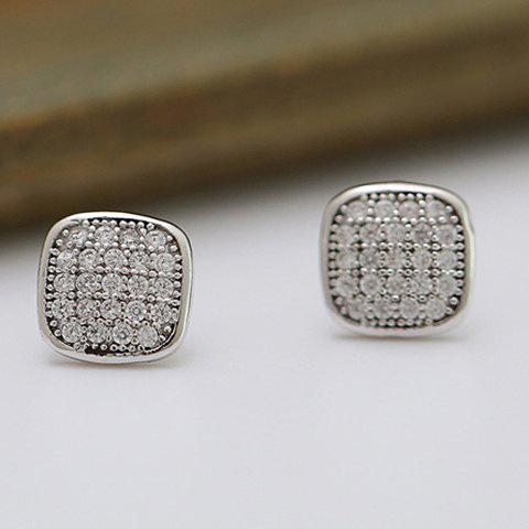 Pair of Vintage Rhinestone Square Stud Earrings For Women - SILVER GRAY