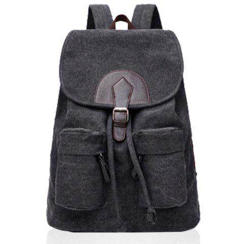 British Style Canvas and Buckle Design Satchel For Women - BLACK