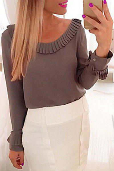 Chic Women's Scoop Neck Long Sleeve Fringed Solid Color Blouse - GRAY S