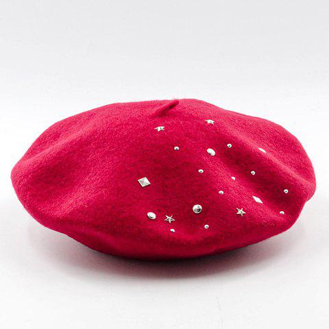 Chic Various Rivets Embellished Candy Color Women's Felt Beret - RED
