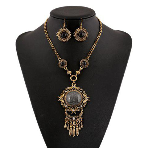 A Suit of Noble Faux Crystal Rhinestone Hollow Out Round Necklace and Earrings For Women