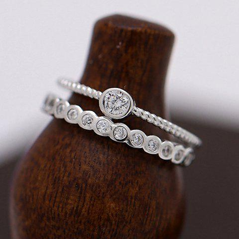 Vintage Double-Layered Rhinestone Cuff Ring For Women - SILVER ONE-SIZE