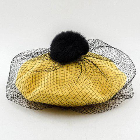 Chic Downy Ball and Mesh Veil Embellished Women's Beret - YELLOW