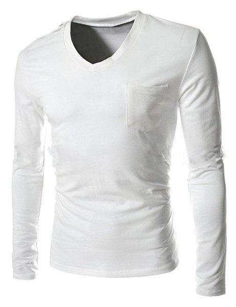 Single-Breasted Shoulder Design One Pocket Solid Color V-Neck Long Sleeves Men's Slim Fit T-Shirt - WHITE M