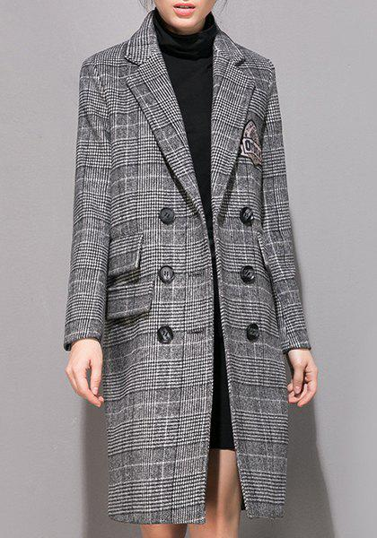 Stylish Long Sleeve Turn-Down Collar Double-Breasted Gingham Women's Coat