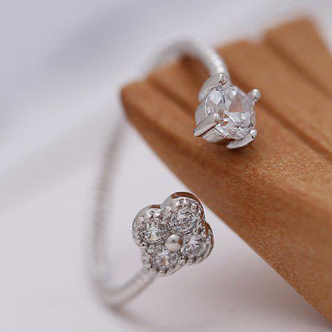 Stylish Rhinestone Floral Cuff Ring For Women - SILVER ONE-SIZE