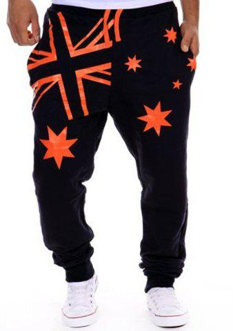 Hot Sale Beam Feet Star Union Jack Print Loose Fit Men's Lace-Up Sweatpants - CADETBLUE XL
