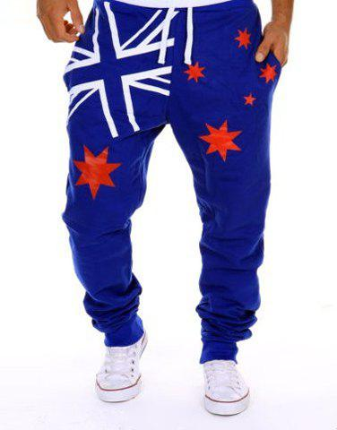 Hot Sale Beam Feet Star Union Jack Print Loose Fit Men's Lace-Up Sweatpants - BLUE L