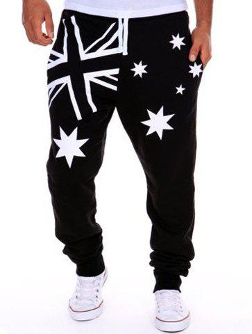 Sweatpants Hot Sale Pieds Beam Étoile Union Jack Imprimer Lace-Up'S Loose Fit Men - Blanc et Noir M