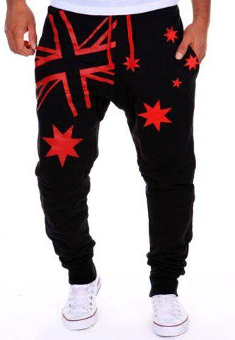 Hot Sale Beam Feet Star Union Jack Print Loose Fit Men's Lace-Up Sweatpants - BLACK / RED XL
