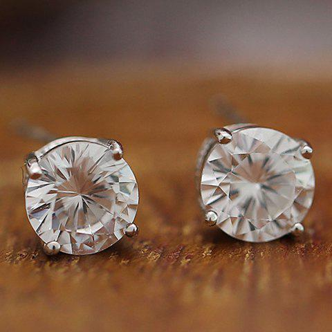 Pair of Stylish Rhinestone Stud Earrings For Women - SILVER