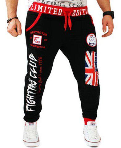Hit Color Letters Logo Union Jack Print Beam Feet Lace-Up Loose Fit Men's Hot Sale Sweatpants - BLACK 2XL