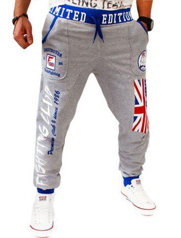 Hit Color Letters Logo Union Jack Print Beam Feet Lace-Up Loose Fit Men's Hot Sale Sweatpants - LIGHT GRAY M