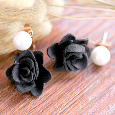 Pair of Graceful Faux Pearl Blossom Shape Earrings For Women