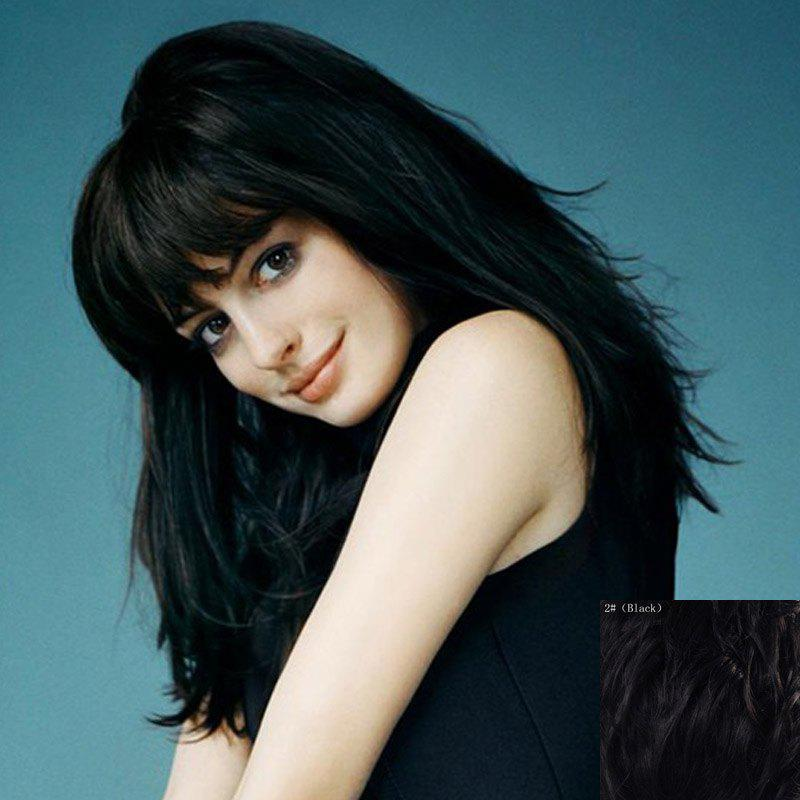 Fluffy Natural Straight Graceful Full Bang Capless Vogue Long Real Human Hair Wig For Women - BLACK