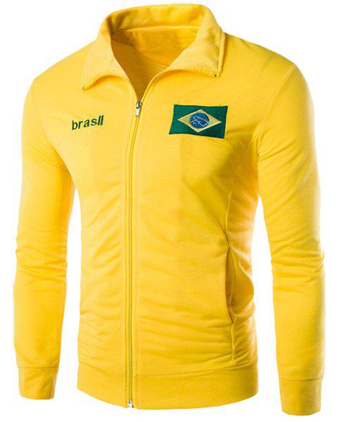 Brasil Flag Embroidered Letters Print Patch Pocket Stand Collar Long Sleeves Men's Sweatshirt - YELLOW XL