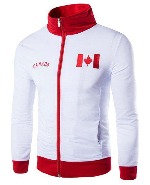 Canada Flag Embroidered Color Spliced Letters Print Stand Collar Long Sleeves Men's Sweatshirt - XL WHITE