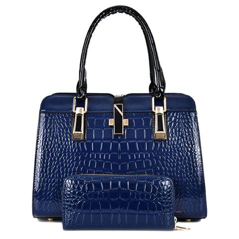 Stylish Pure Color and Crocodile Print Design Tote Bag For Women - BLUE