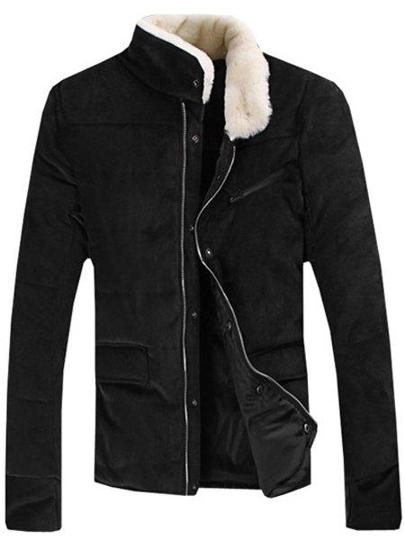 Fur Collar PU Leather Spliced Flap Pocket Long Sleeves Fitted Men's Thicken Corduroy Padded Coat - BLACK M