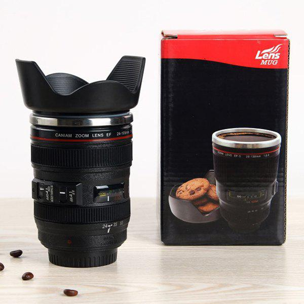 400ML Hot Sale Heat-Resistant Coffee Tea Cup Camera Lens Mug - BLACK