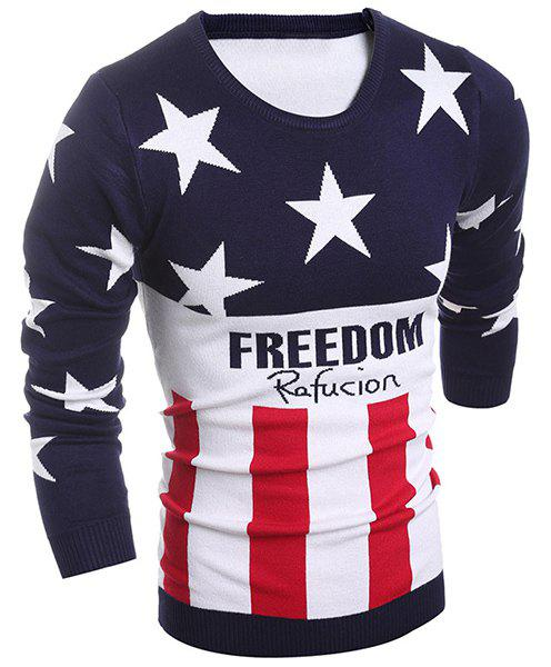 Color Block Splicing Round Neck Flag Pattern Letter Print Long Sleeve Men's Sweater - CADETBLUE L