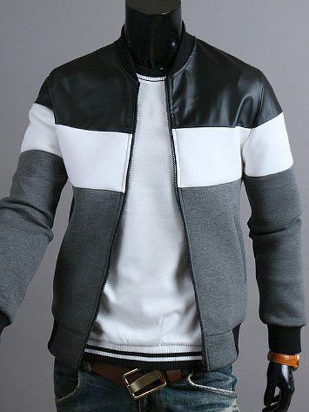 Classic Color Block PU Leather Spliced Rib Hem Stand Collar Long Sleeves Men's Slimming Jacket 160084302