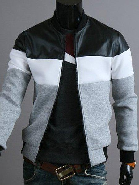 Classic Color Block PU Leather Spliced Rib Hem Stand Collar Long Sleeves Men's Slimming Jacket - LIGHT GRAY 2XL