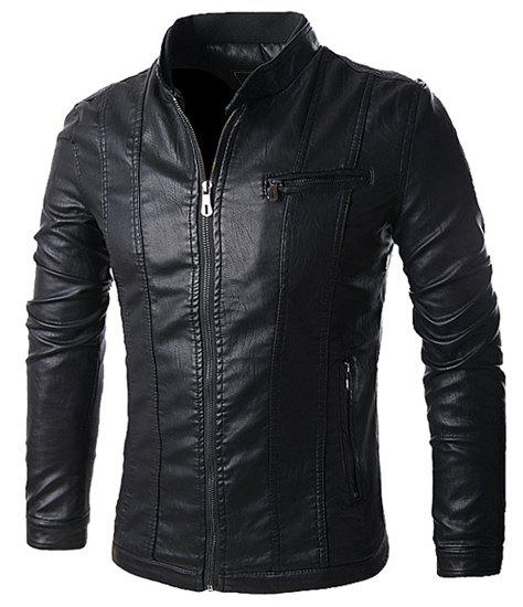 Stand Collar Solid Color Multi-Pocket Long Sleeve Men's PU-Leather Jacket - BLACK M