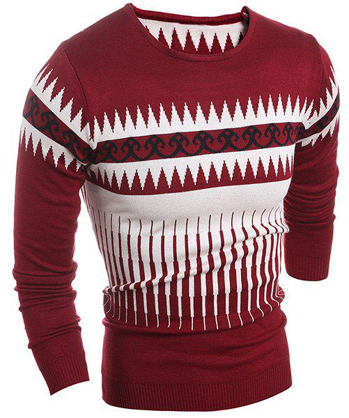 Color Block Geometric Print Round Neck Stylish Long Sleeve Men's Sweater - RED XL
