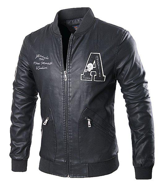 Stand Collar Rib Splicing Letters Pattern Long Sleeve Men's PU-Leather Jacket - BLACK L
