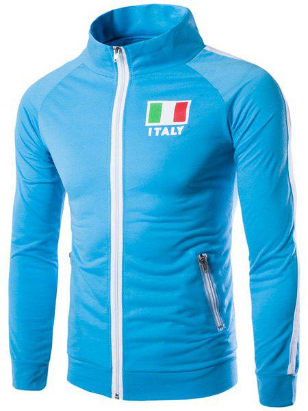 Zipper Pocket Stripes Spliced Italy Flag Letters Print Stand Collar Long Sleeves Men's Sweatshirt - LAKE BLUE XL