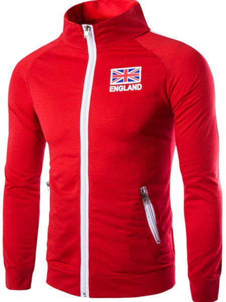 Union Jack Letters Print Zipper Pocket Stripes Spliced Stand Collar Long Sleeves Men's Sweatshirt - RED L