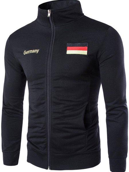Germany Flag Embroidered Letters Print Patch Pocket Stand Collar Long Sleeves Men's Sweatshirt - BLACK L