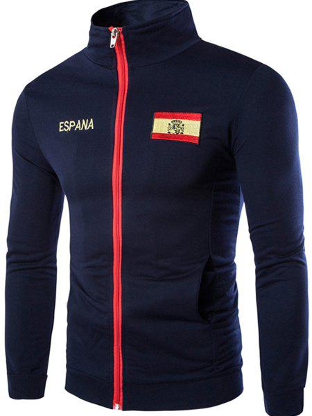 Espana Flag Embroidered Letters Print Patch Pocket Stand Collar Long Sleeves Men's Sweatshirt - CADETBLUE XL