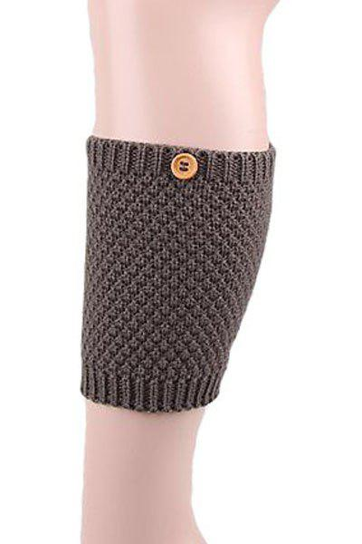 Pair of Chic Button Knitted Boot Cuffs For Women - DEEP GRAY