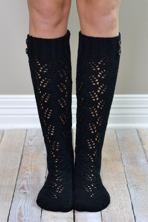 Pair of Chic Button Hollow Out Knitted Stockings For Women - BLACK