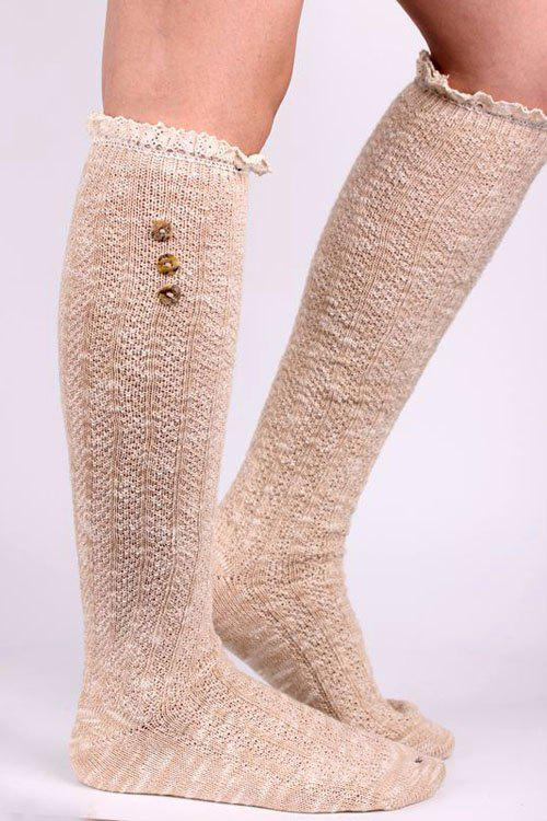 Pair of Chic Button Lace Knitted Stockings For Women - KHAKI
