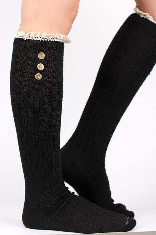 Pair of Chic Button Lace Knitted Stockings For Women - BLACK