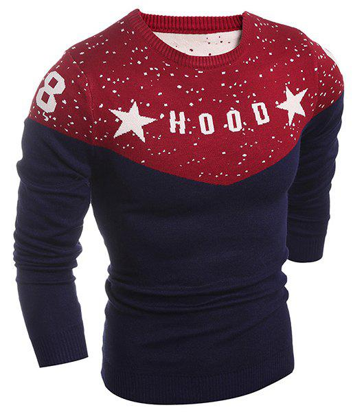 Letter and Star Print Splicing Design Round Neck Long Sleeve Men's Sweater 160139403