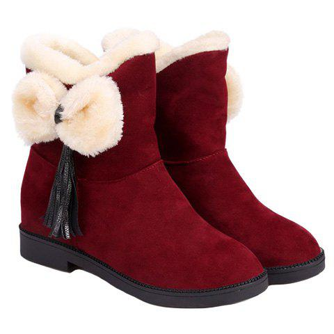 Cute Suede and Bowknot Design Women's Snow Boots - 36 WINE RED