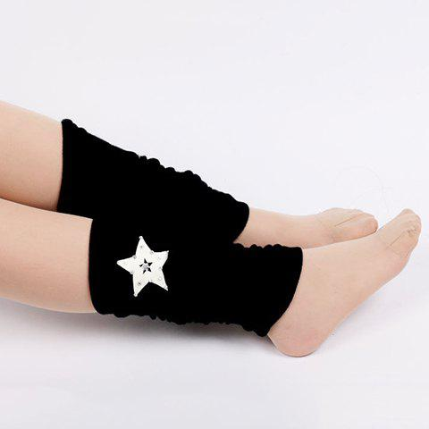 Pair of Chic Rhinestone Embellished Five-Pointed Star Pattern Women's Leg Warmers - BLACK
