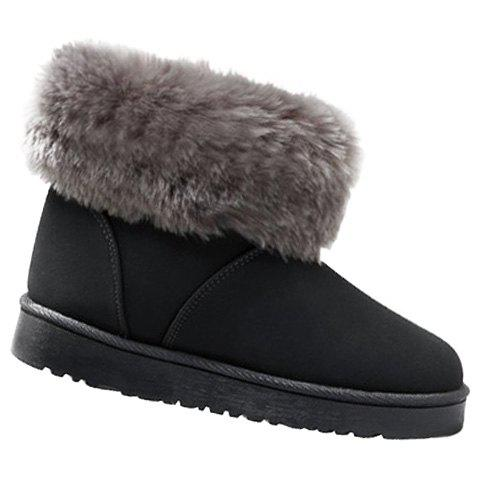 Casual Faux Fur and Suede Design Women's Snow Boots - GRAY 38