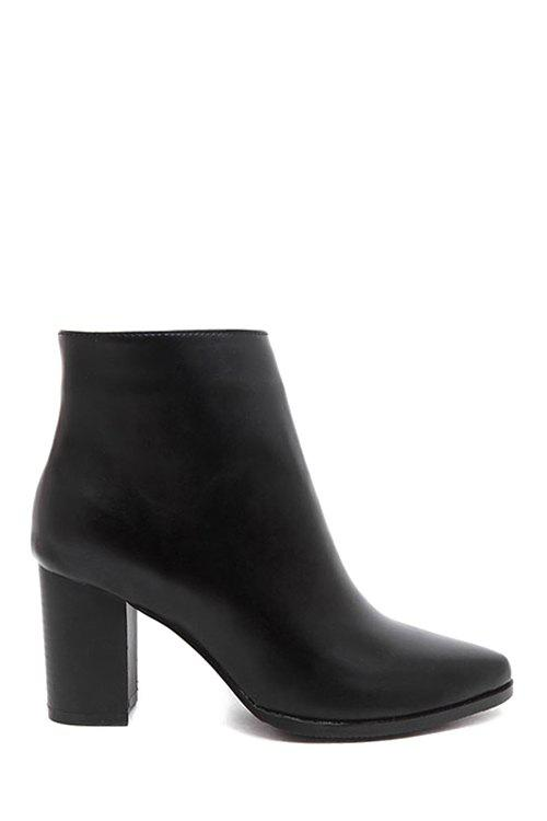 Concise Pointed Toe and Chunky Heel Design Women's Ankle Boots - BLACK 37