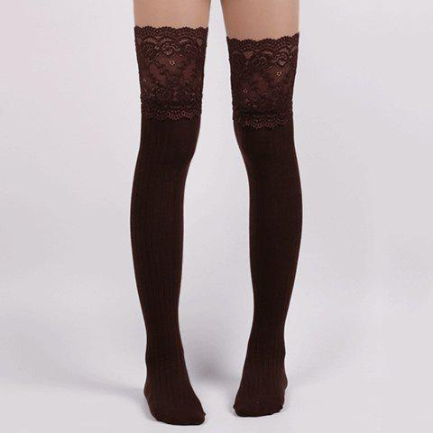 Pair of Chic Lace Edge Solid Color Women's Knitted Stockings - COFFEE