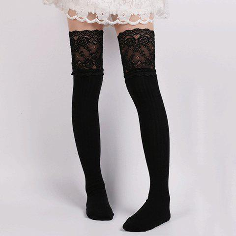 Pair of Chic Lace Edge Solid Color Women's Knitted Stockings - BLACK