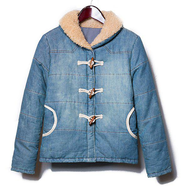PU Leather Spliced Horn Button Fur Collar Long Sleeves Thicken Denim Men's Padded Coat - BLUE M