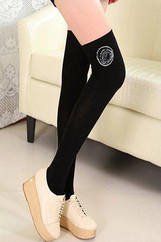 Pair of Chic Small Pompon Embellished Women's Thicken Leg Warmers - BLACK
