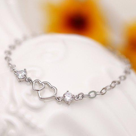 Delicate Rhinestone Hollow Out Heart Bracelet For Women - SILVER