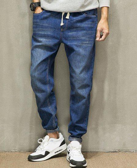 Slimming Narrow Feet Solid Color Cat's Whisker Bleach Wash Men's Lace-Up Jeans - DEEP BLUE L